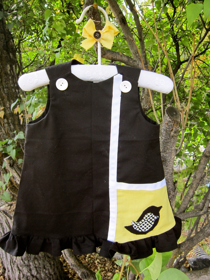Maggie Mag Pie Dress 1960's Inspired Retro Black and Yellow Bird. $44.00, via Etsy.