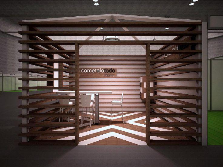 Proyecto de stand cerrado con estructura de madera
