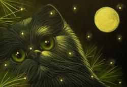 Art: HOLIDAY BLACK PERSIAN CAT 1ST SNOW by Artist Cyra R. Cancel