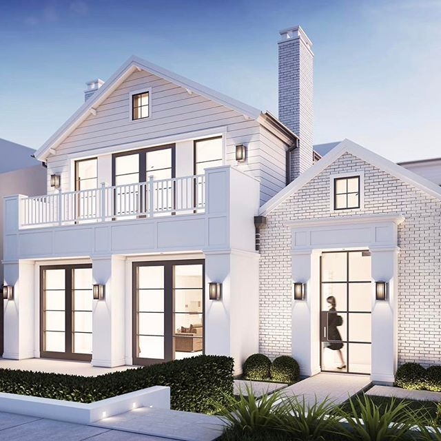 •Render of the week | Clapboard siding, double gables and brick make for quite the transitional dream home!• #brandonarchitects