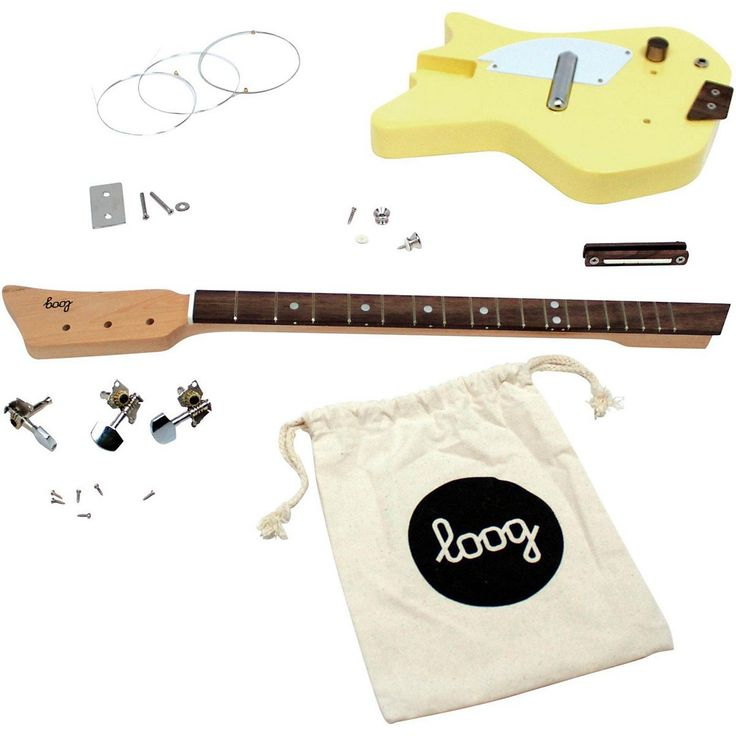 Loog Electric Guitar 3-String Solid-Body Electric Guitar, Yellow. A real guitar made out of real wood. Equipped with a screaming pickup that sounds amazing. Because it only has three strings and a narrow neck it's easier for small children to form chords.