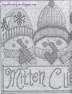 Bonito gráfico de tres muñecos de nieve...