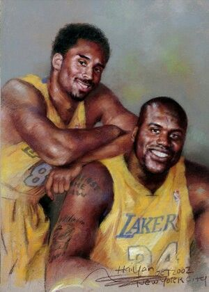 Lakers Art : Shaq and Kobe - The artist knew this would never happen in real life so he had to draw it LMAO