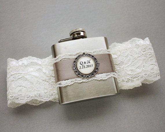 FLASK GARTER Ivory & Gray Wedding Bridal Garter by MoonshineBelle