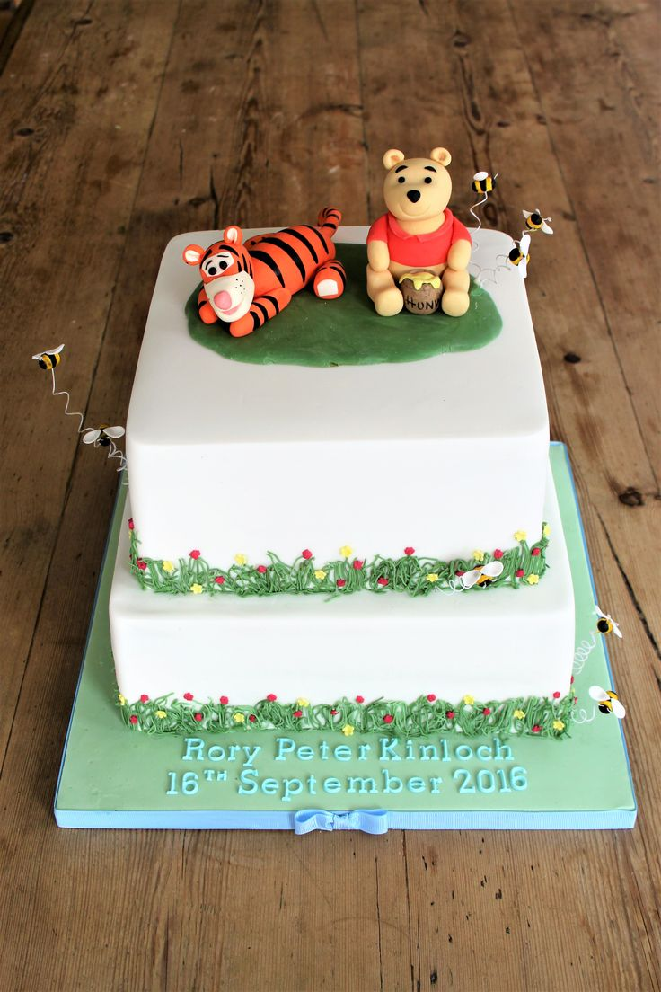 Winnie the Pooh and Tigger two tier cake with grass and piped flowers around each layer, fruit cake and chocolate cake layers for a boys Christening