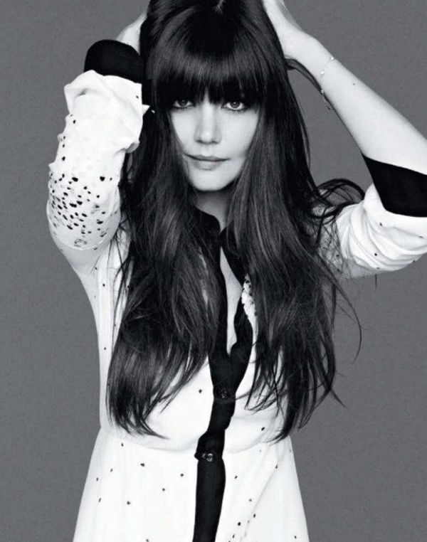 Katie Holmes full fringe long hair