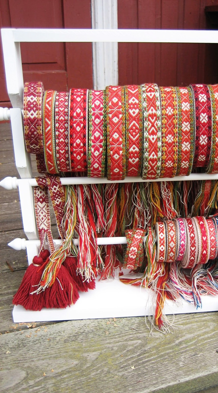 Handwoven Swedish trims and belts done with wool from Norway - beautiful!