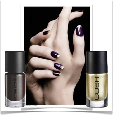 Dramatic take on the french manicure with a touch of Gold for glamour!   #GOSH Nail Lacquer in Night-kiss and Gold.