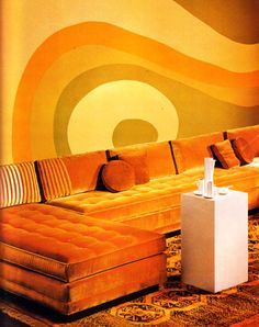 1970s Vintage Yellow Brush-On Wall Decor Paint Design.  Forget about decorating with wallpaper, pictures and mirrors. Open your eyes - and your mind - to free form painted wall designs, as designer Lawrence Peabody did.