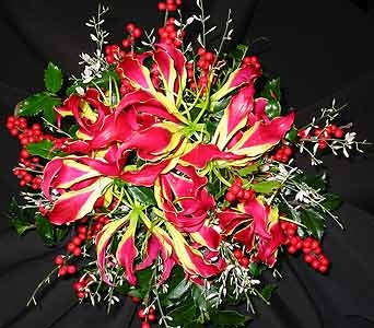 Gloriosa lilies, winterberry, ginestra, and holly create a striking bouquet for the winter bridesmaid.