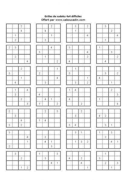 Jeux à imprimer gratuit   Grilles de sudoku enfants difficiles   grille-4x4-niveau-difficile ...