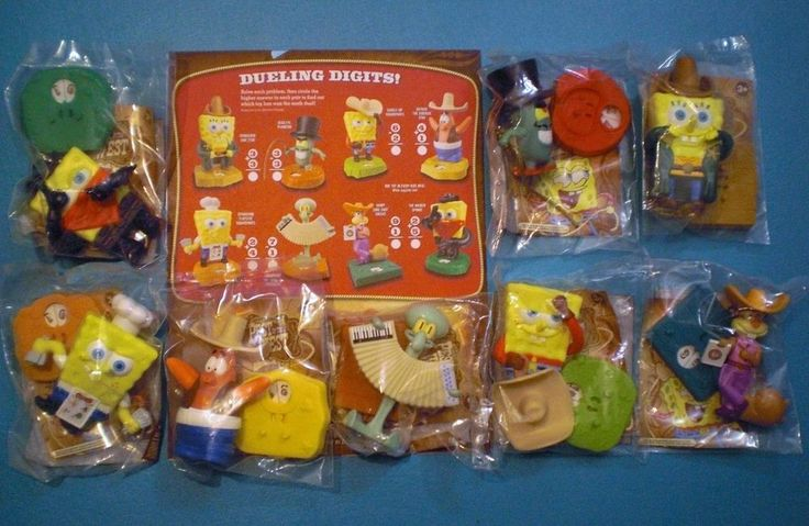 """They were given out in 2008 Burger King Kids meals to commemorate the TV movie """"Spongebob Squarepants Pest of the West"""". Each character is dressed as if in a Western. Spinning the Spinner yields a number from 1 to 10. 