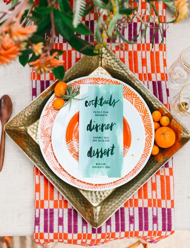 Big, bold table setting. Off-palette watercolor menu design!