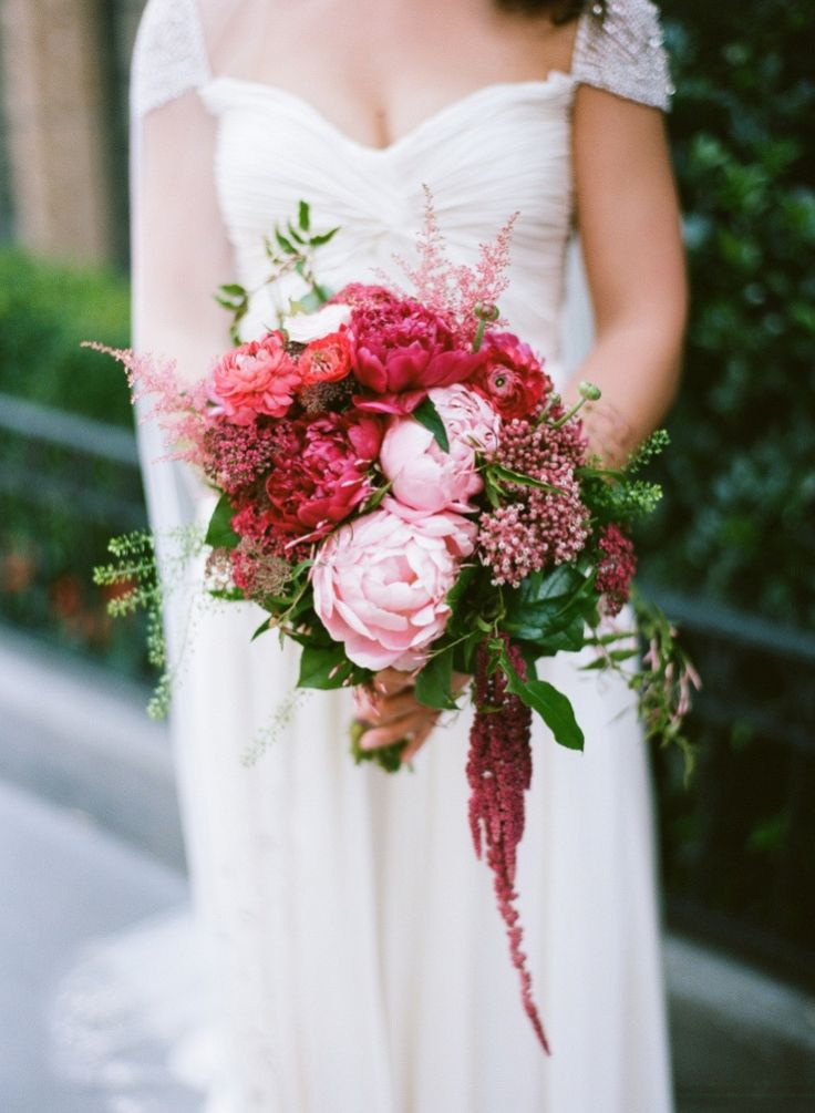 Shades of fuchsia and pinks | Photography: Robert And Kathleen Photographers - robertandkathleen.com  Read More: http://www.stylemepretty.com/2014/12/18/romantic-nyc-rooftop-wedding/