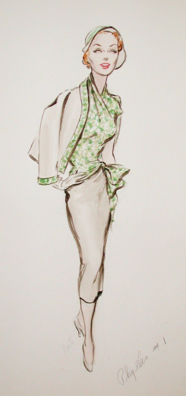 Edith Head Elaine Stritch Costume Sketch
