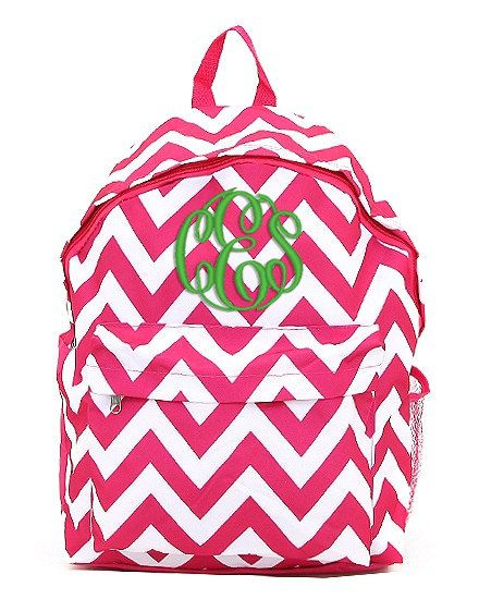 Shocking Pink Chevron Personalized Backpack