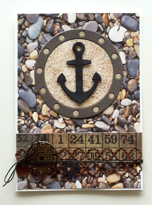 Card - rocks stone MFT anchor porthole MFT Let´s get nautical #mftstamps - kort anker koøje sten - kort til mænd - Karte für Männer - JKE