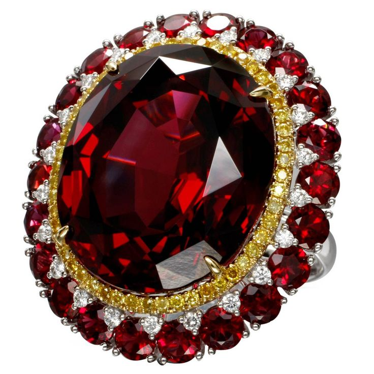 Incredible Garnet Diamond Gold Cocktail Ring | From a unique collection of vintage cocktail rings at https://www.1stdibs.com/jewelry/rings/cocktail-rings/