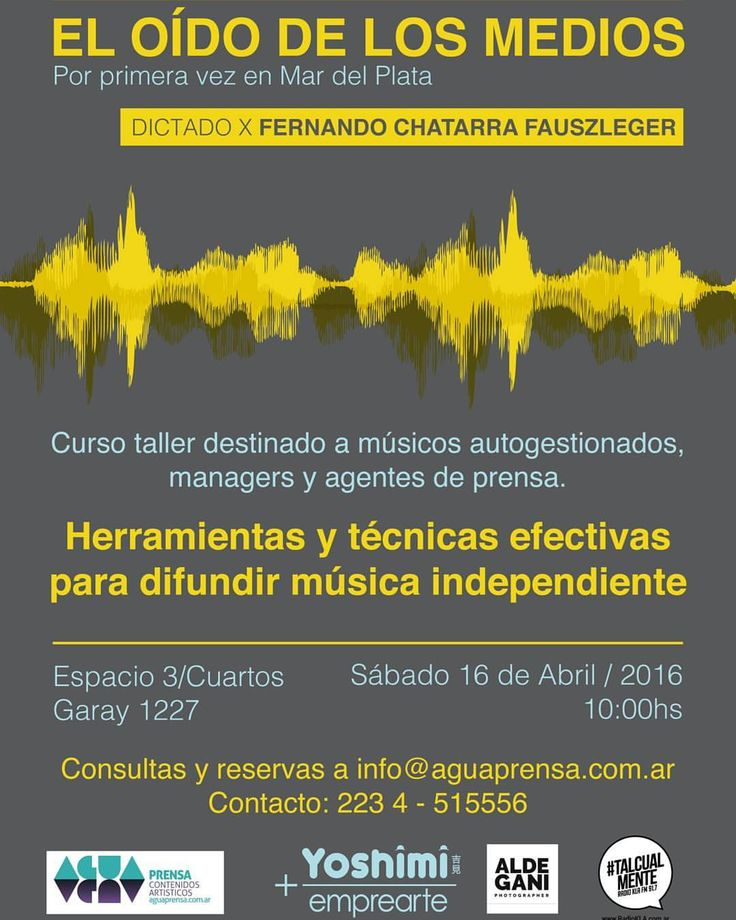 Habemus flyer de mi #Curso taller de #difusion y #artistica para MÚSICXS: 16/4 en #MardelPlata  #autogestion #socialmedia #marketing #musicos #independientes #indie #rock #pop #jazz #tango #folklore #electrónica #herramientas #estrategias
