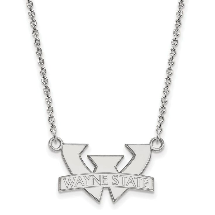 Sterling Silver LogoArt Wayne State University Small Pendant w/Necklace