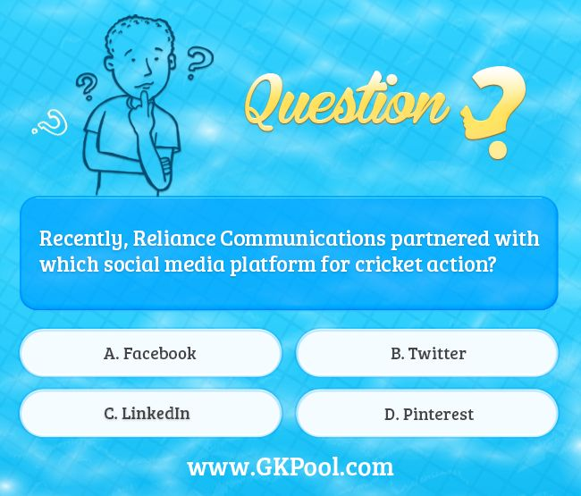 #Currentaffairs #Quiz: Recently, Reliance Communications partnered with which social media platform for cricket action?