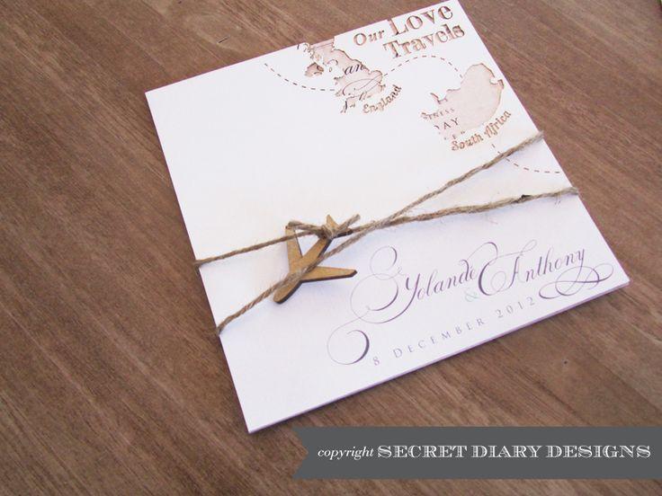 #weddinginvitations  #travelweddinginvitations  www.secretdiary.co.za