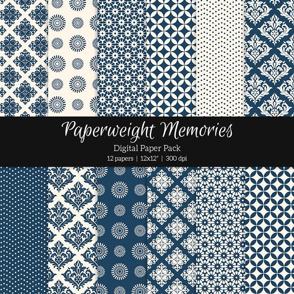 Patterned Paper – Always Blue by Paperweight Memories on @creativemarket ... https://crmrkt.com/53JP0O