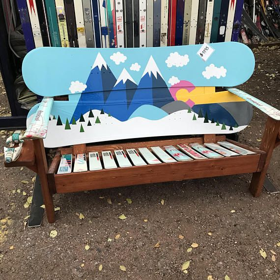 Oil Hand Painted  Cartoon Mountain Mural Adirondack Snowboard