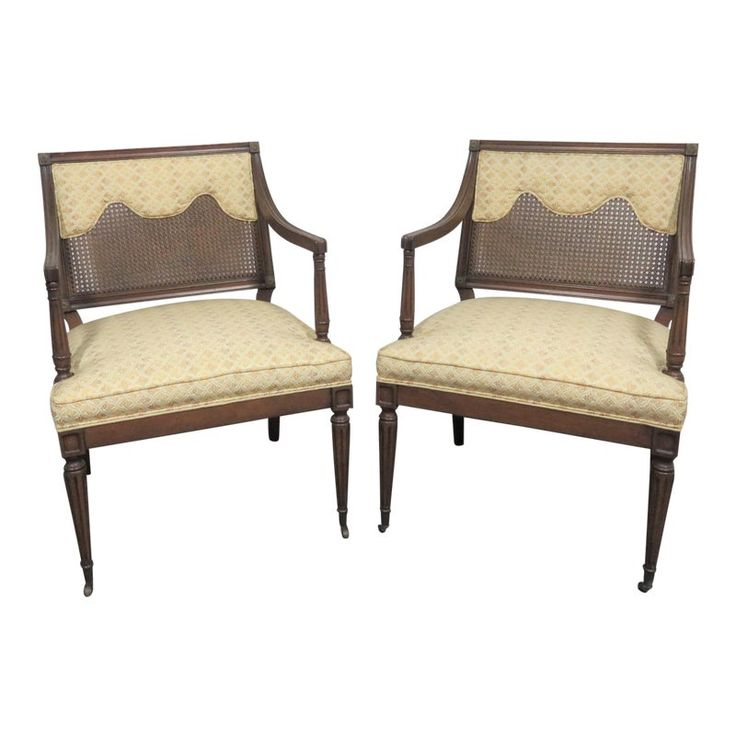 Louis XVI Style Caned Back Upholstered Armchairs – a Pair   – Products