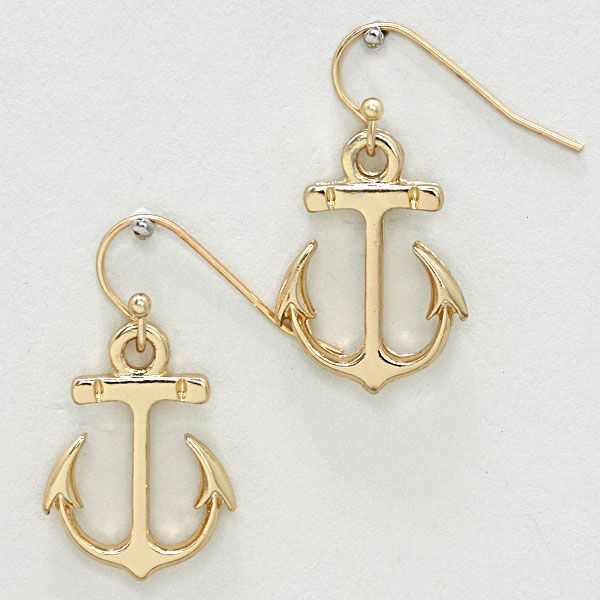 Metal Nautical Anchor Dangle Earrings 233522