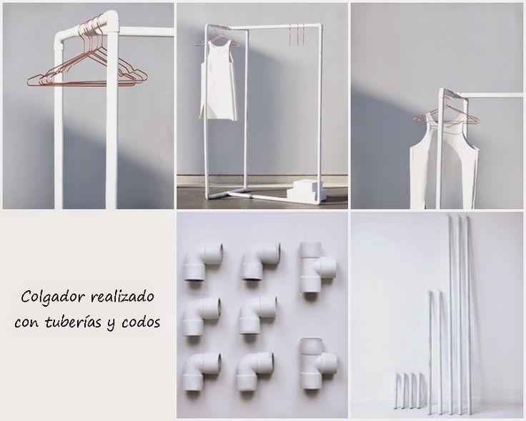 Ideas muy sencillas para hacer un perchero con tuberías. Tomad nota de todos los materiales y pasos.