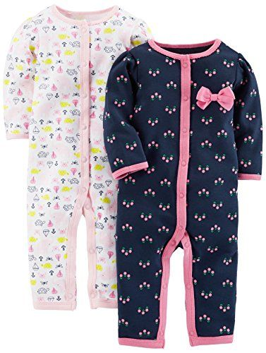 Simple Joys by Carter's Girls' 2-Pack Cotton Footless Sleep and Play, Elephant/Flowers, Preemie. For price & product info go to: https://all4babies.co.business/simple-joys-by-carters-girls-2-pack-cotton-footless-sleep-and-play-elephantflowers-preemie/