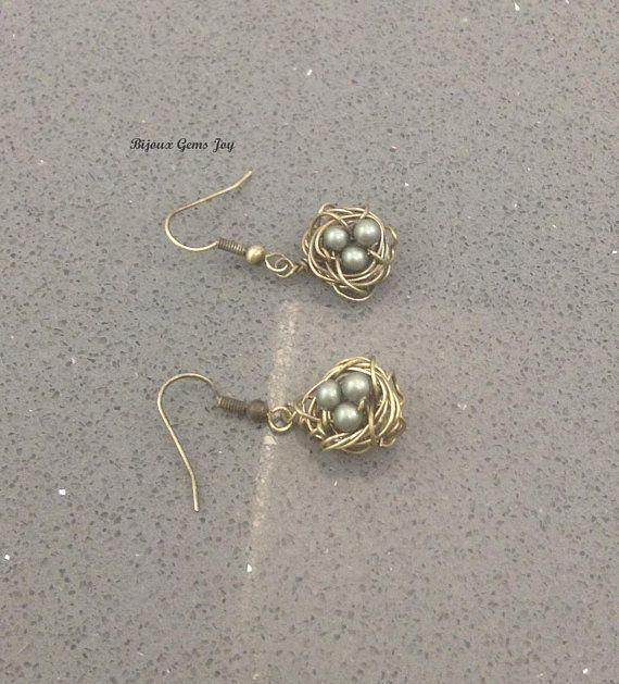 Nesting Earrings Swarovski Pearls Antiqued Brass