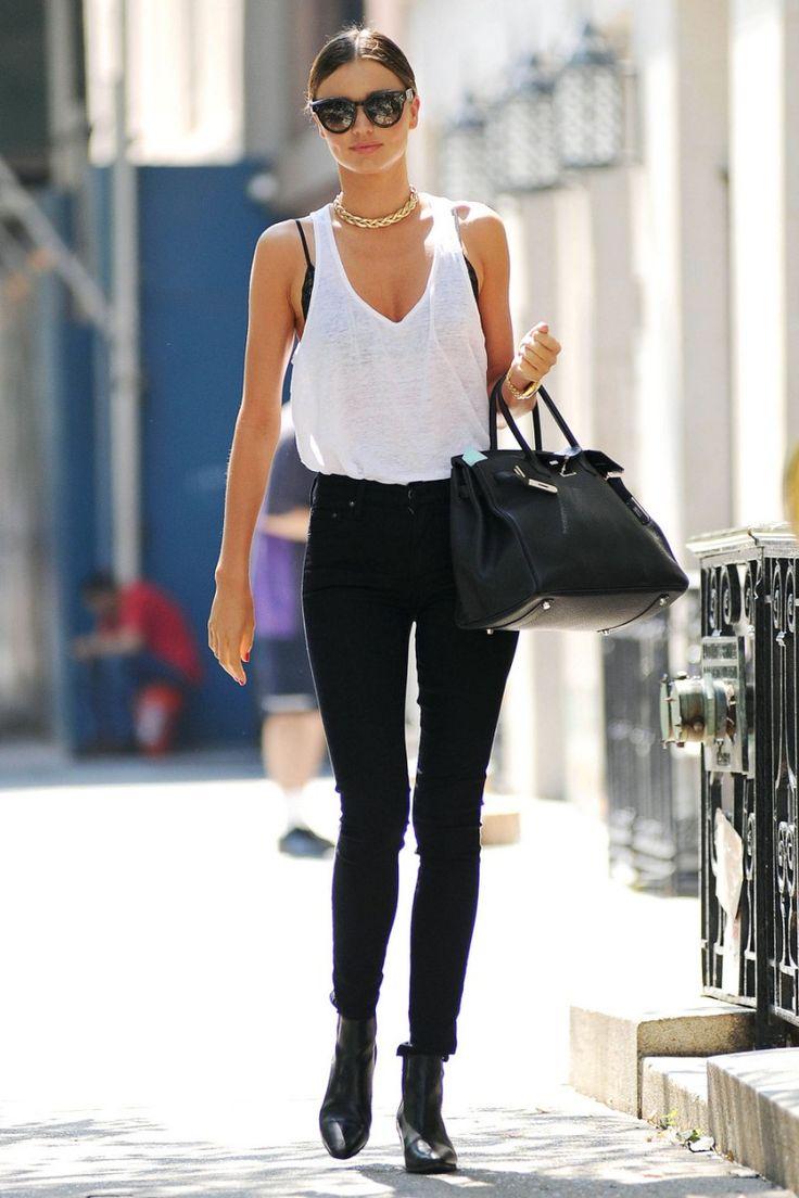 miranda kerr off duty style white tank black skinny jeans
