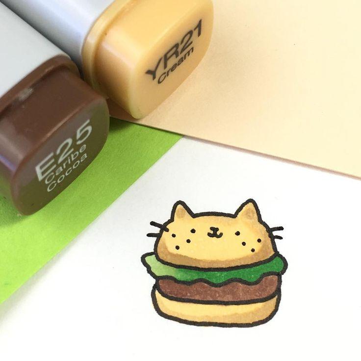 6,936 vind-ik-leuks, 20 reacties - ⭐️KiraKiraDoodles (@kirakiradoodles) op Instagram: 'Delicious Kitty Burger ✨ • • #kawaii #doodle #copicmarkers #sketchbook #kitty #burger #catdoodle…'
