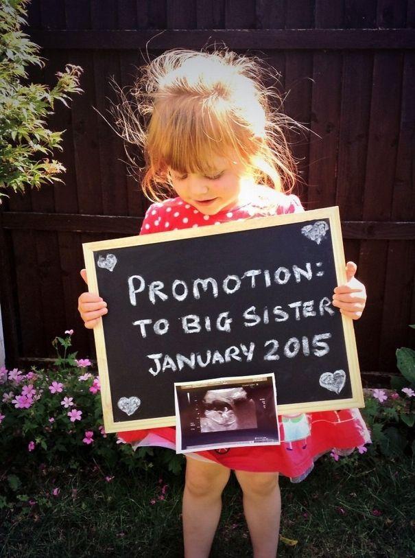 Creative Pregnancy Announcement, cute when you already have children!
