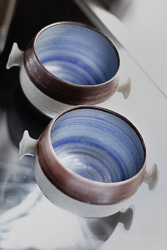 Two blue and white Scandinavian, Japanese ,Chinese, MINIMAL rustic HANDMADE ceramic Soup Bowls set with handles, stoneware
