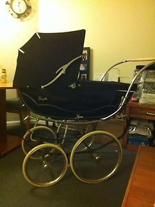Vintage Royale Baby Pram Stroller Navy Blue 1950 S 1960 S