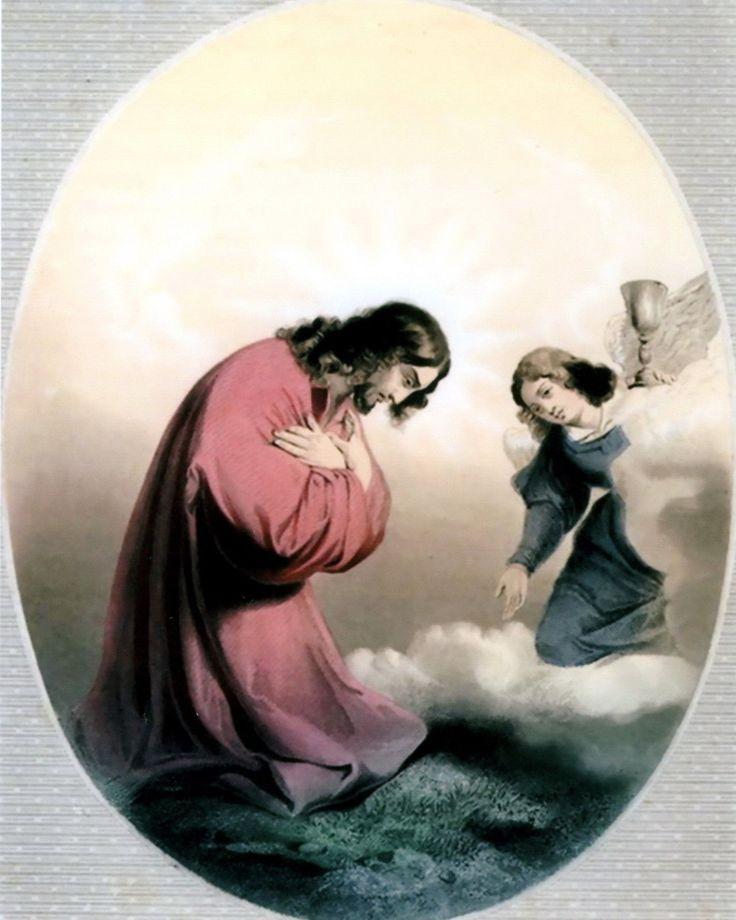Christian Easter Print Angel Gethsemane Agony Jesus Prayer THY WILL BE DONE