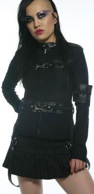 Lip Service - Gansta Pranksta skirt in black with grey pinstipe