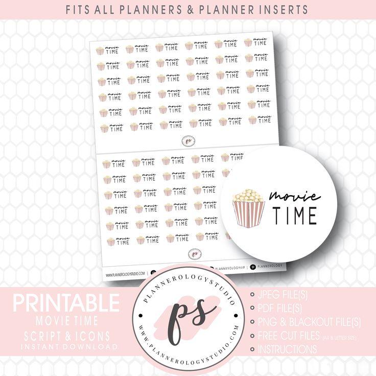 Movie Time Bujo Script & Icon Digital Printable Planner
