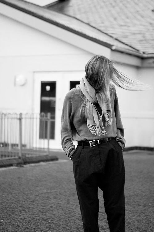 scarf, longsleeve top, belt & trousers #style #fashion