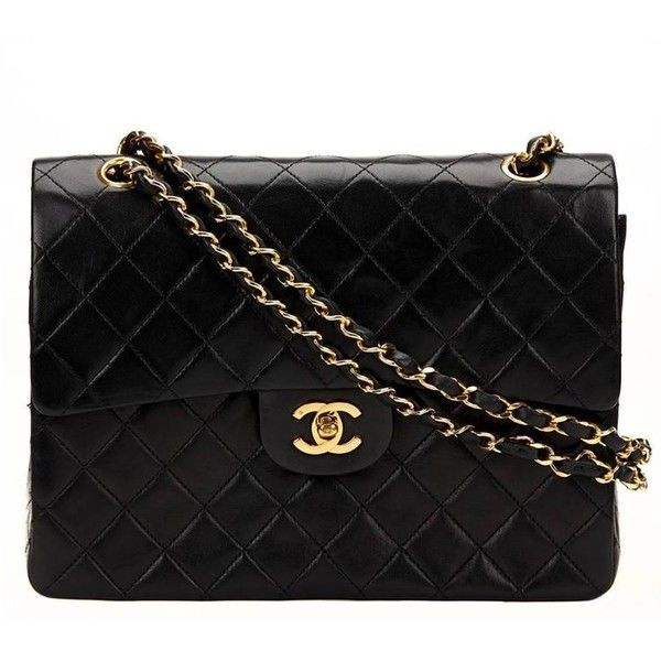 Preowned 1980s Chanel Black Quilted Lambskin Vintage Medium Tall... ($2,533) ❤ liked on Polyvore featuring bags, handbags, black, lambskin handbag, pre owned purses, strap purse, chanel purse and lambskin purse