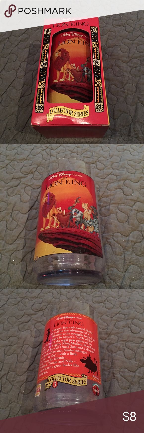 "Disney Lion King Cup Burger King Collector Series Disney Lion King Burger King Collector Series Cup in original box. This cup is number 3 in the Collector Series. Cup measures 5.5"" tall and 3"" across. Made of plastic, not glass. In excellent condition, never used. Other"
