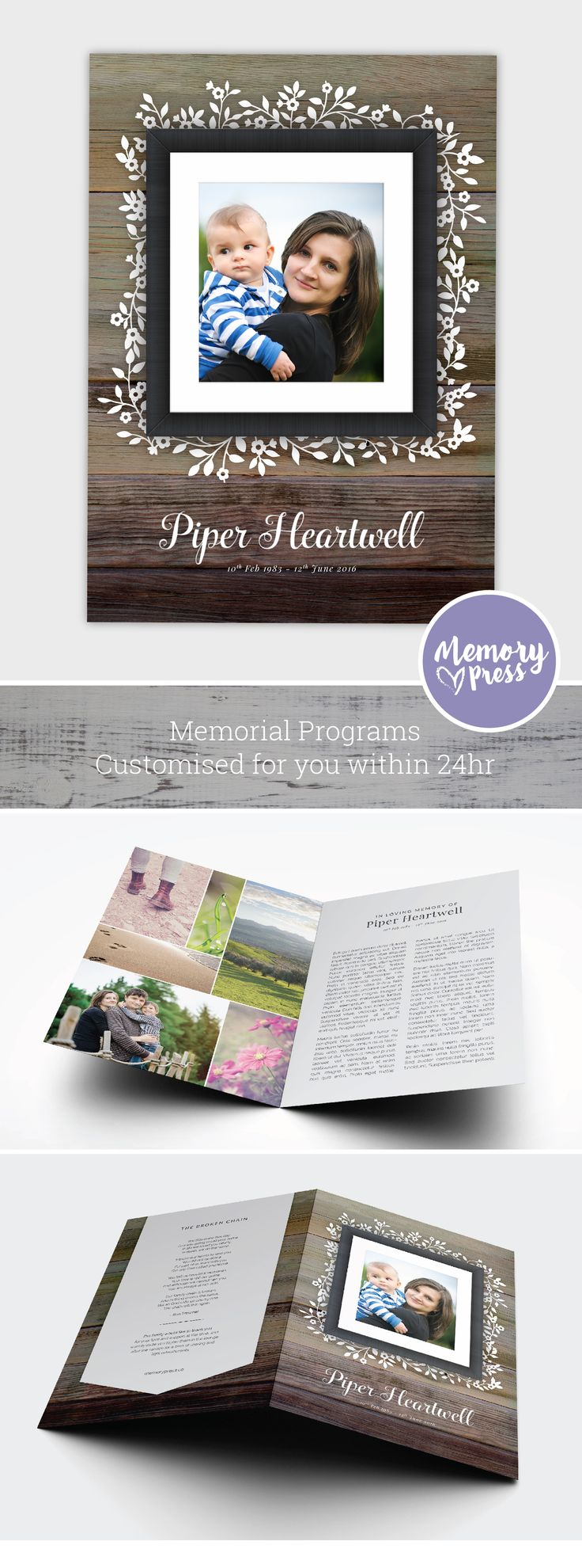 Lilac funeral and memorial program template. Have this customized by a professional Graphic Designer for only $99.90. Designed by Memory Press, available at memorypress.co