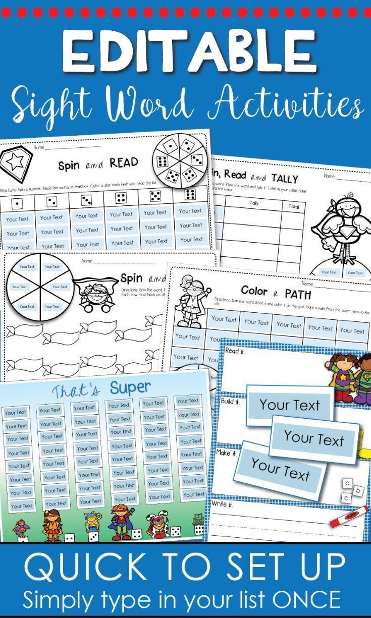 Kindergarten Sight Words Editable Pack Superhero Theme Sight Words Kindergarten Sight Word Activities Dolch Sight Word Activities