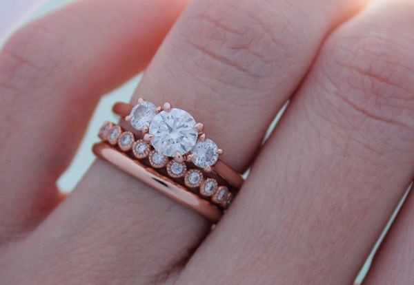 Jessica's 18K Rose Gold Ring Stack... The 3 carrot ring looks just like my ring but silver!