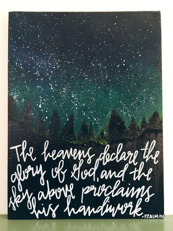 Psalm 19:1  Night Sky  Canvas Art  by CrimsonandGoldInk on Etsy