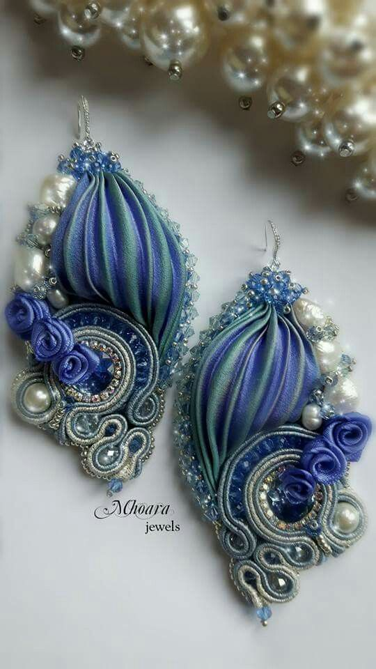 ' like a Princess ' shibori silk earrings- designed by Mhoara Jewels- Beadembroidery, silkribbon, soutache.