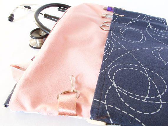 FLORAL LACE Pink & Black.Stethoscope Pouch. Nurse Bag. Vet